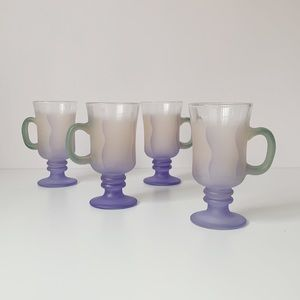 set of 4 vtg abstract pastel airbrush glass mugs